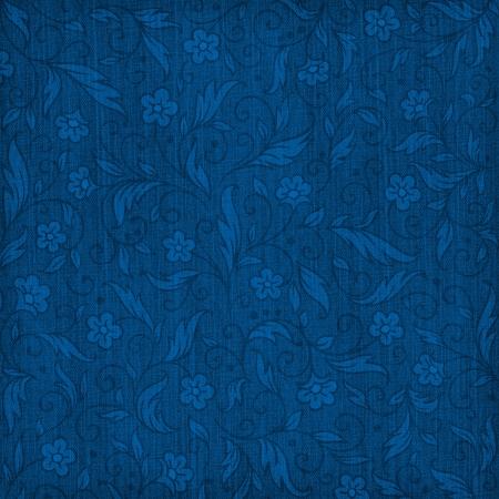Denim textured background with floral pattern Foto de archivo