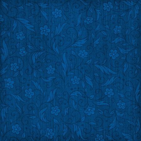 photo album page: Denim textured background with floral pattern Stock Photo