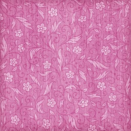 Denim textured background with floral pattern Stok Fotoğraf