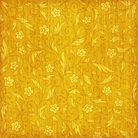 yellow  ochre: Denim textured background with floral pattern Stock Photo