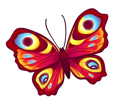 Red vector butterfly (Inachis Io) with open wings Vectores