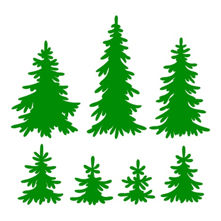 Set van Fir-bomen silhouetten Stock Illustratie