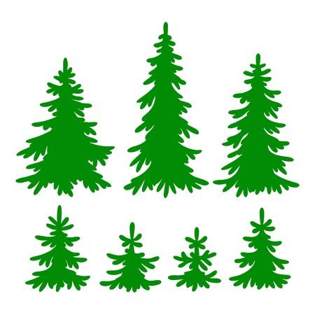 spar: Set van Fir-bomen silhouetten Stock Illustratie