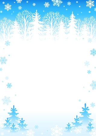 snowflake border: Winter forest background Illustration