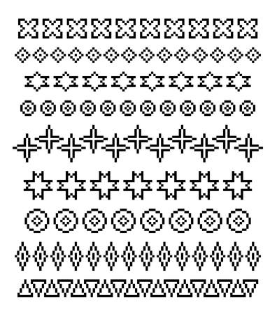 knit stitch: Set of ornaments