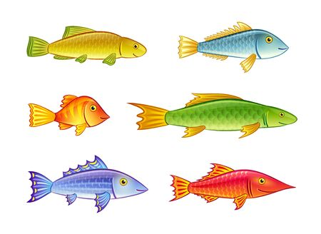 Set of cartoon fishes. Stock Vector - 18319154