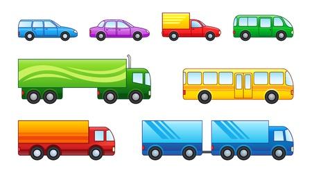 Set von Pkw, Lkw und Busse Vektorgrafik