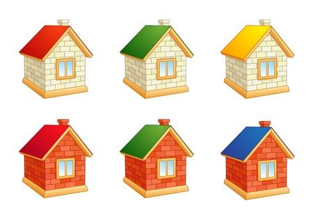 Brick houses - set of icons. EPS8 Çizim