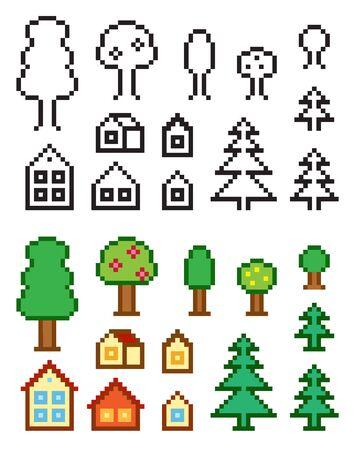 Pixel-art homes and trees Çizim