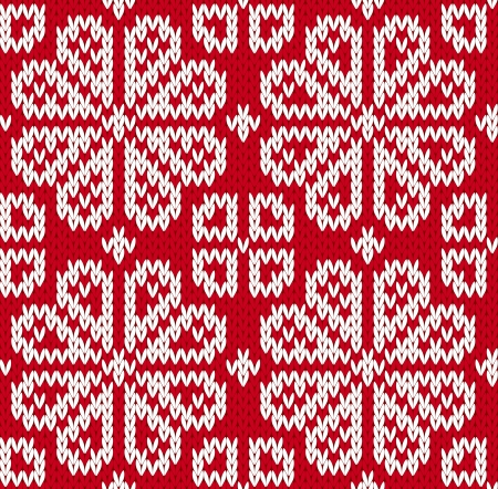 Seamless knitted pattern with flowers. EPS8 Vector