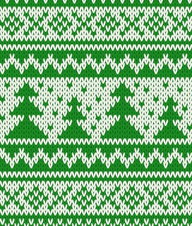 firtrees: Knitted seamless pattern with fir-trees  EPS8