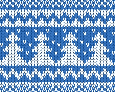 firtrees: Knitted seamless pattern with fir-trees  blue   EPS8