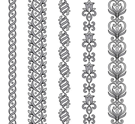 braids: Seamless vector ornamental borders in grayscale