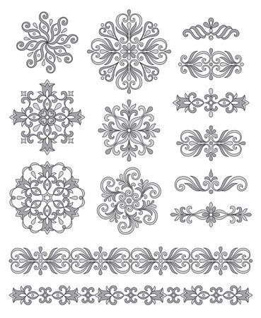 rosettes: Ornamental elements, borders and rosettes