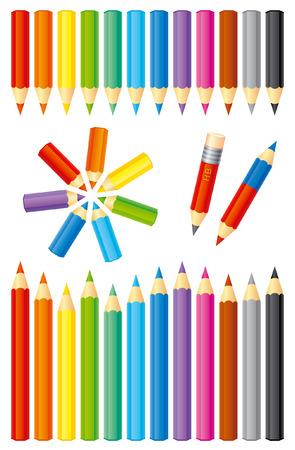 hexahedral: Set of color pencils  EPS8