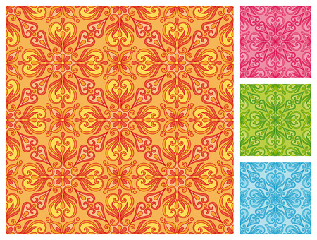 Seamless floral pattern in different color schemes Stock Vector - 27517846