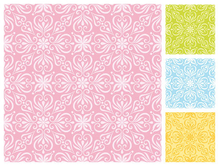 Seamless floral pattern in different pastel color schemes Stock Vector - 27517850