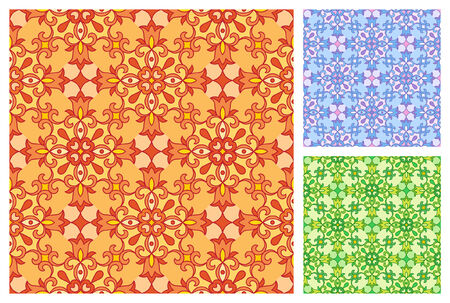 Seamless floral pattern in different color schemes Stock Vector - 27517848