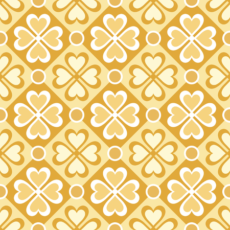 seamless pattern of stylized flowers and geometrical shapes