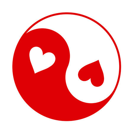 Red And White Yin Yang Symbol With Hearts Instead Of Dots Royalty