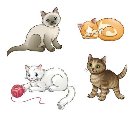 Set of pretty vector kittens. EPS10