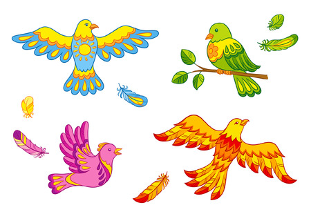 wingspan: Set of fantasy vector birds and feathers