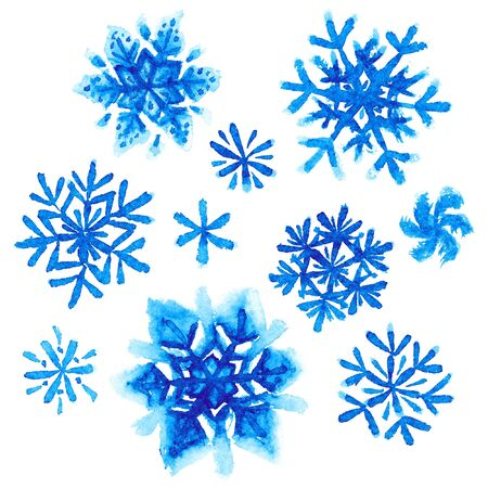 flakes: Set of watercolor painted snowflakes on white background
