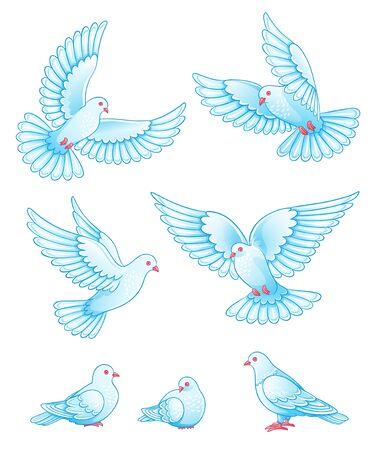 palomas volando: Conjunto de palomas - volando y sentado. Ilustración de EPS10 Vectores