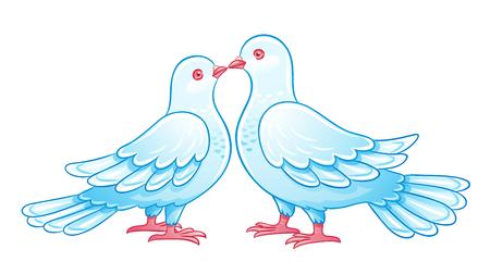 eps10: Couple of doves kissing. EPS10 Illustration