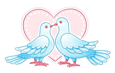 wedding heart: Couple of doves kissing.