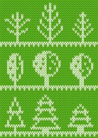 knitted fabrics: Seamless knitted pattern with trees. EPS8 Illustration