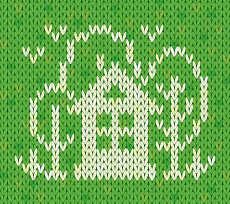 knitted fabrics: Knitted pattern with house and trees.