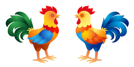 stately: Two stylized roosters. Vector illustration Illustration