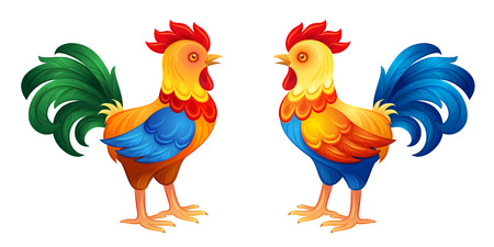 stately: Two roosters