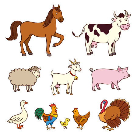 Farm animals in cartoon style. EPS8