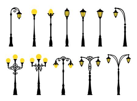 Decorative stylized streetlights silhouettes. EPS8