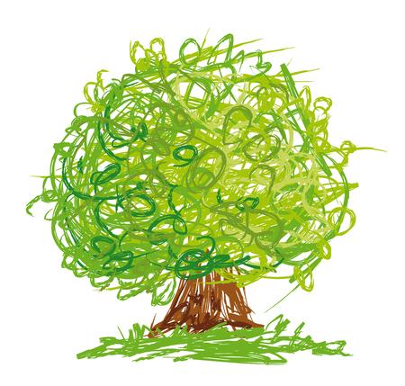 빠른 스케치 스타일에서 그린 둥근 왕관과 벡터 나무. 일러스트