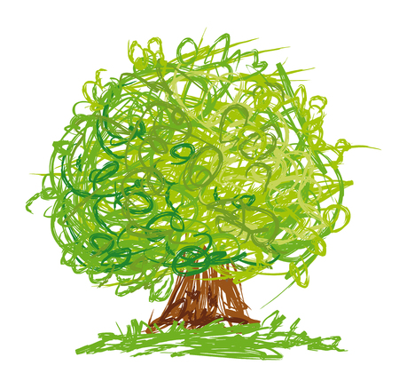 Vector tree with round crown drawn in quick sketchy style.