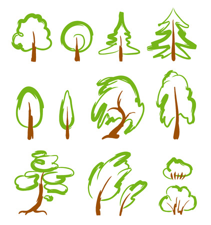 Set of quick sketchy drawings of different trees.