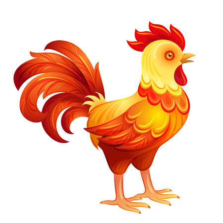 fiery: Stylized rooster in fiery colors.