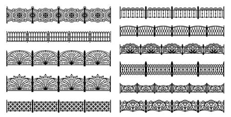 cast iron: Decorative fences silhouettes. Can be used as seamless borders