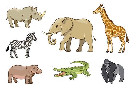 Animales africanos en el estilo de dibujos animados. EPS8
