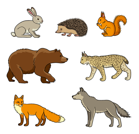 contoured: Set of stylized vector forest animals. EPS8