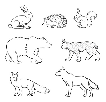 Set of stylized vector forest animals in contours. EPS8