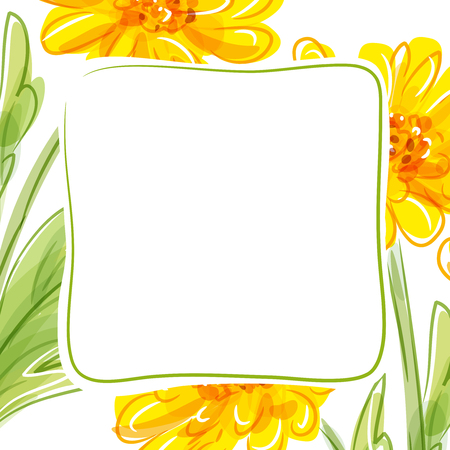 Vector floral background with yellow flowers. Çizim