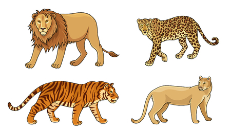 Set of stylized vector big cats. EPS8