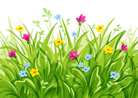 Vector grass with wild flowers.  with transparency