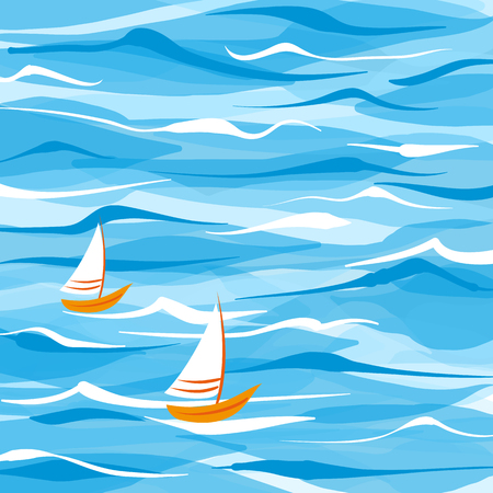 Sea vector background with two boats with transparency
