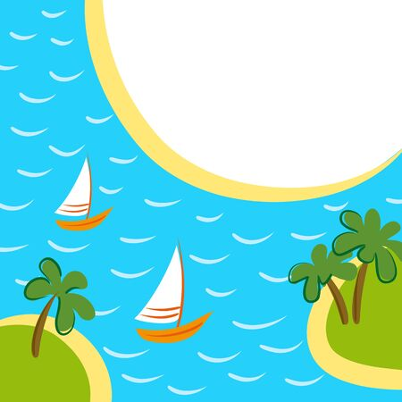 sea transport: Sea vector background with two boats between islands.
