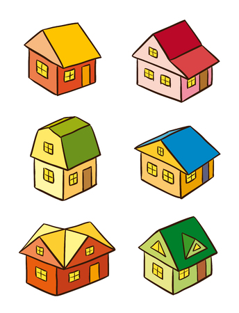 Set of simple stylized houses. Vector